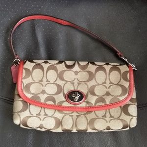 Coach Tan and Red Signature Clutch Wallet